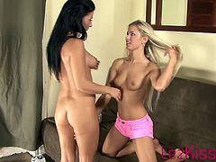 Lezkiss brings you a hell of a free porn video where you can see how these blonde and brunette sluts get nasty on the couch while assuming very hot poses.