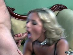 Insatiable light haired MILF in sexy crotchless panties posed on knees to make her brutal guy happy. She sucked his huge penis incredibly passionately. Take a look at that horny cock hunter in Pinko HD sex video!
