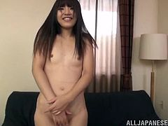 This cute little Japanese slut gets naked and pulls down her cute, little panties. She is looking super sexy and she has a pristine shaved vagina. Watch as she spreads her legs open wide and plays with that cute pussy.