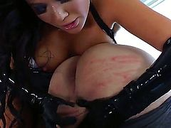 Nasty Asian chick London Keyes loves dominating over Slut Bottom Chris. This time babe takes enormous big strap on and starts stuffing anal of the slave dude by it.