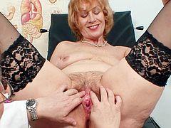Lusty mature lady in black stockings keeps open for the horny doc to stimulate that hairy twat properly