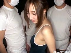 Asian hottie oiled up by a group of fuckers