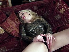 Gorgeous blonde chick Brook is having some nice time alone. She kneads her big tits and strokes her hot body and then entertains herself by masturbating her coochie.