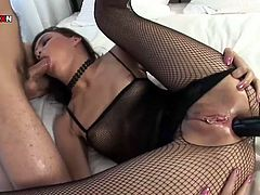 Raven haired filthy bitch in black crotchless panties got her anus pounded with big black sex tool. Meanwhile her guy fucked and fisted her throbbing twat hard. Watch that kinky chick in Porn XN sex video!