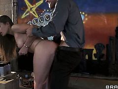 Johnny Sins whips out his worm to fuck Amazing whore Dani Daniels