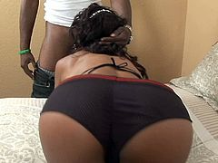 Desirable black babe takes off her undies giving a great view of her fucktastic booty. Ebony beauty treats BBC with sensual blowjob and gets her poon fucked missionary style.