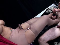 Provocative shemale mistress inserts her tootsies in his mouth hole and make him suck her foot. Don't skip this exciting foot fetish sex video featuring horny shemale harlot.
