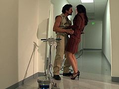 Check out this hot scene where the slutty brunette India Summer ends up with her face covered by semen after being fucked silly by this guy.