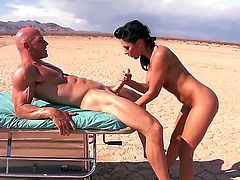 Desert banging between Johnny Sins and Rachel Starr would blow up your imagination. Big tittied brunette beauty is sucking fat penis before getting it in cunt in doggie.