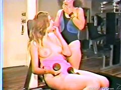 Have fun watching these babes, with natural boobs and nice asses, while they touch each other hard in a retro video. They are hot chicks!