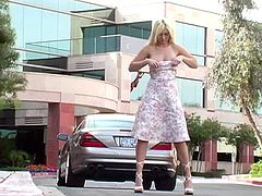 Drop dead sexy Alison Angel lifts up her skirt and shows the public her shaved pussy and round ass as she walks down the street.