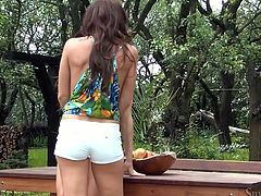Long and dark haired sexy babes with stunning boobies presented unforgettable cunnilingus to one another on fresh air in front camera guy. Look at this passionate lesbo fuck in Fame Digital sex video!