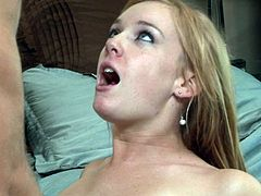 Amazing blonde gets ravished by having a massive dick to slide her tight vag