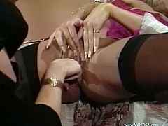 Check out this vintage video where these smoking hot babes make you pop a serious boner as you they have a lesbian moment as they fuck each other with a strapon.