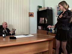 Amazing blonde Tarra White wearing stockings is having MMF sex in an office. She lets the guys eat her holes and then gets them pounded like never before.