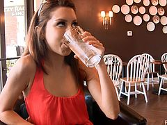 What are you waiting for? Watch this brunette babe, with natural boobs wearing a cute dress, while she shows her natural beauty in a reality story.
