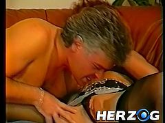 This couple is relaxing and enjoying a nice make out session on the couch. Pretty soon they need to take it to the next level and she takes his jeans off to get at his cock to suck it. Watch and she goes to town on her man meat. He'll suck those titties to get her nice and wet.