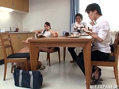 What are you waiting for? Watch this Japanese MILF, with a nice ass wearing a skirt, while she acts naughty after having some yummy food.