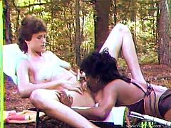 Have a good time watching these lesbian brunettes, with nice asses and big jugs, while they touch and lick each other's bodies in a retro clip.