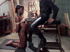 Do you love when pretty girls are used for rough sex? A pretty ebony babe is tied up strongly with rope and gets down on her knees to suck a big dick. An executor hangs clothespins to her small tits and encourages her to offer sex favours. Relax and enjoy this video