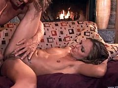 A sweet blondie gets her hairy pussy licked. Then Lexi gives a blowjob to a big guy and takes rough pussy pounding. The girl also gets facialed as she likes.
