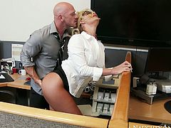 Bald headed dude Johnny Sins rims Phoenix Marie ass hole