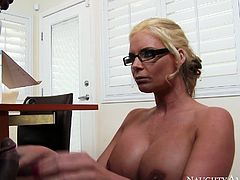 Curvy babe with nice ass gets her dripping pussy fucked hard missionary on the table. Have a look at this bitch in Naughty America sex video.