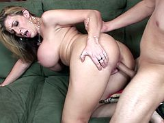Voluptuous milf, Sara Jay, looks adorable with one large dong smashing her pink vag in rough encounter