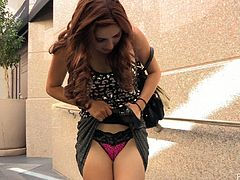 What are you waiting for? Watch this redhead babe, with a nice ass wearing cute panties, while she shows her natural beauty in a solo model video.
