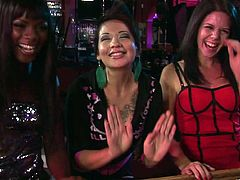 Three girls chill in a bar. They drink a lot and talk to a handsome barmen. Ana Foxxx is one of these girls. She is so horny because of the alcohol that gives a blowjob to the barmen.