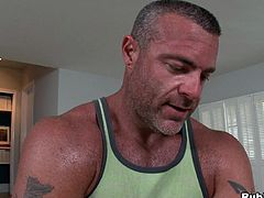 This fucker's gettin' a massage when the horny muscled man providing it decides to shove his cock up his ass! Check it out!