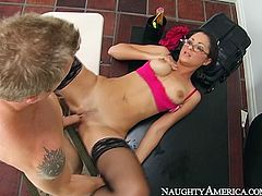 Busty beauty in red bra and black stockings is a luscious cougar. Horny stud feverishly fucks his gorgeous teacher in mish and doggy poses in order to get an A.