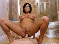 Horny black haired sex doll Anissa Kate gives solid deep throat