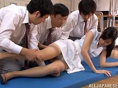 Hot Japanese bitch Mira Tamana is playing dirty games with two men. She lets them touch her hairy twat and favours them with a passionate blowjob afterwards.