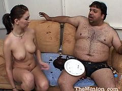 He puts whipped cream on his dick so she will suck it then balances a plate of food on her back while pounding her doggystyle.