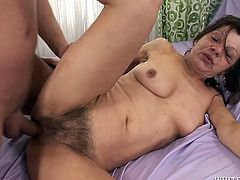 Perverted granny with hairy pussy gets banged from behind