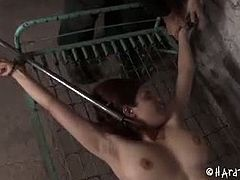Checkout this big ass redhead babe Iona Grace in this hot bdsm video with master PD.See how he tis her hands and legs and toys her tight shaved pussy on a spring bed with out a mattress then he plays with her nipples and hurt them very hard.