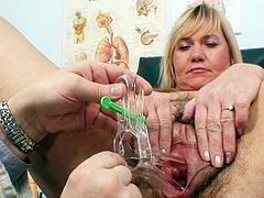 With big boobs and a hary twat, mature babe is ready to dazzle her horny gynecologist