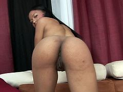 Lewd black girl with fine booty takes BBC up her wet shaved coochie on her side from behind. Hot lady gets on all fours and takes it up her coochie doggystyle.