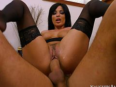 Raven haired stacked sex bomb with big sexy boobs bounced on that massive staff cock in reverse cowgirl style hard. Have a look at that steamy sex in Naughty America porn video!