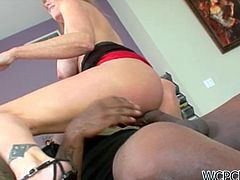 Appetizing MILF named Darla is known for taking huge cocks in her pussy,This time she is fucked by huge black cock.After giving him deep throat blowjob She is takes black dong in her filthy cunt.