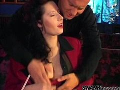 Get a load of this vintage video where these busty ladies share this guy's big cock in a threesome that you take a look at their big natural breasts.