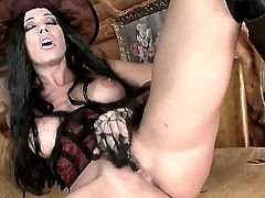 Sexy and horny Sandy feeling lonely is doing workout of a lifetime showing her wet pussy and wonderful abs in the process and showing her eager desire to fuck hard as soon as possible.
