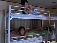 Get wild watching this Asian babes, with natural boobs and nice backyards, while they get fucked hard in their dorm my horny dudes.