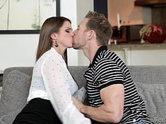 Brooklyn Chase has an amazing pair of knockers. Her man pulls them out of her top and gives them a good rub and lick. She is so horny now that she make him get on his knees and eat out her soaking wet vagina.