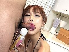 Lusty Asian fairy named Misa Kikouden shamelessly sucks her mate's hard hairy dick in the kitchen. She firmly holds the shaft and blows the tip with passion.