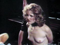 A retro BDSM video with a blonde girl getting humiliated