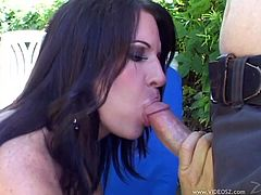 Horny brunette mom Kendra Secrets is having fun with some guy in the garden. She sucks and rubs the dude's boner and then enjoys ardent banging in cowgirl position.