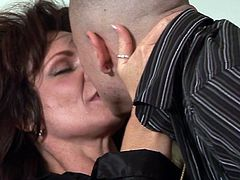 Busty mature in staggering lingerie, Deauxma, is in for a rough fuck adventure along greedy younger stud