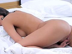 Young skinny brunette Lisa M. with natural boobies and tight ass gets naked and polishes sweet shaved honey pot to warm orgasm in sensual bedroom fantasy filmed in close up.